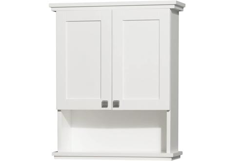 Wyndham Collection Acclaim Solid Oak Bathroom Wall-Mounted Storage Cabinets in White