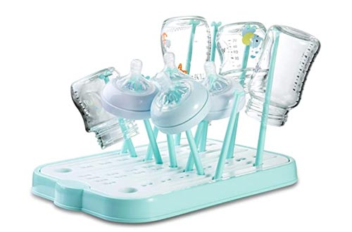 Baby Bottle Drying Racks, Countertop Dryer Racks with Drainer Board for Baby Bottles and Accessories(Blue)