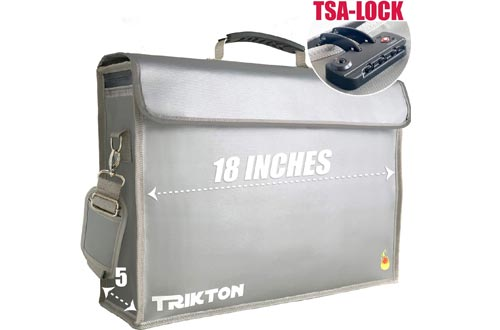 TRIKTON Super Extra Large 18x13x5 Fireproof Safe Bag for Documents with Lock TSA, Full Opening Zipper, Holds Legal Size Files, XXL, Visible in The Dark, Lock Boxes for Documents, Fire Water Resistant