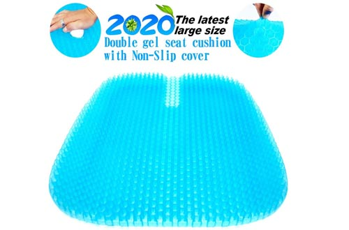 Gel Seat Cushions, 2020 the Latest Large Size Honeycomb Design Cushions Double Thick Seat Cushions with Non-Slip Cover Super Breathable Gel Cushions for Back Painr Home Office Chair Car