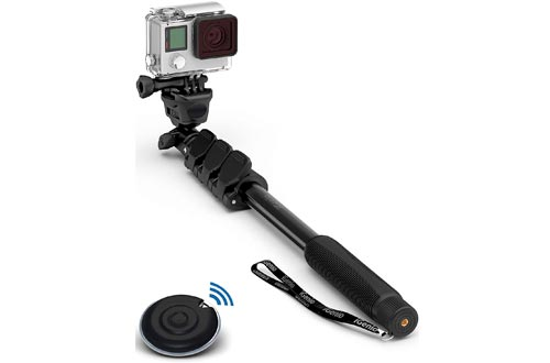 """Professional 10-in-1 Monopod Selfie Sticks for All GoPro Hero, Action Cameras, Cellphones, Digital Compacts with Bluetooth Remote Shutter - Extends 15""""- 47"""", Weatherproof Shockproof - Take It Anywhere"""