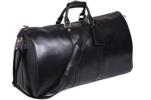 Leathario Mens Genuine Leather Overnight Travel Duffle Overnight Weekender Bags Luggage Carry On Airplane(Black-122)
