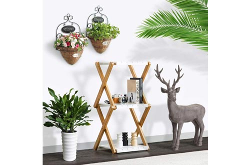 Nnewvante Shelving Unit Foldable Tiered Display Shelves Stand Bamboo Wood Open Storage Shelf Rack Slim Bookshelves Stand for Home Office White-3 Tier