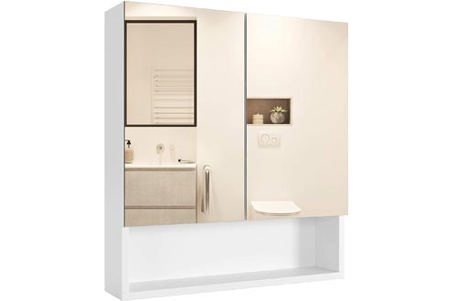 Homfa Bathroom Wall Mirror Cabinets with Double Doors and Adjustable Shelf, 20.9 X 22.8 Inch Wooden Medicine Cabinets Multipurpose Storage Organizer Kitchen Cupboard, Cream