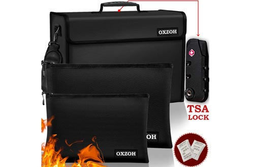 Fireproof Bag with Lock (TSA Approved) | Fireproof Document Bags XXXL Size (17 x 12 x 6 inch), A4 & A5 Size | Waterproof Fireproof Document Boxes | Firebox for Document Storage | Firebag Safe