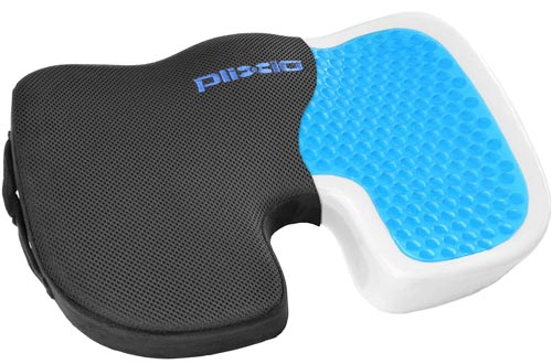 Plixio Gel Seat Cushions Memory Foam Chair Pillow with Cooling Gel for Sciatica, Coccyx, Back & Tailbone Pain Relief - Orthopedic Chair Pad for Support in Office Desk Chair, Car, Wheelchair & Airplane