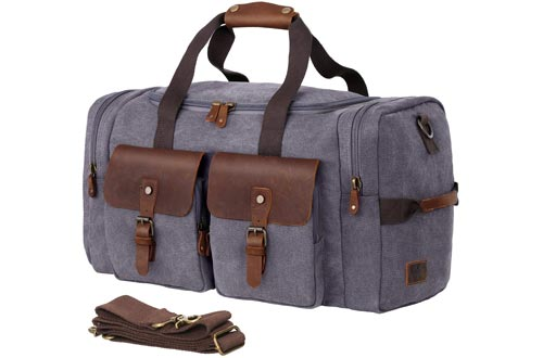 WOWBOX Duffel Bags Weekender Bags for Men and Women Genuine Leather Canvas Travel Overnight Carry on Bags with Shoes Compartment Grey