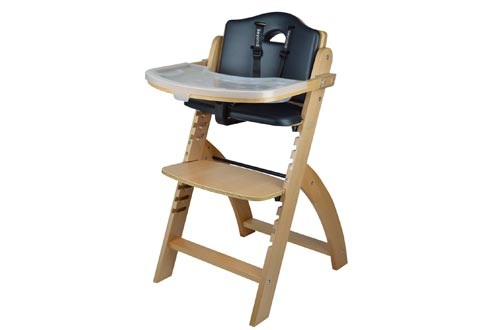 Abiie Beyond Wooden High Chairs with Tray. The Perfect Adjustable Baby Highchair Solution for Your Babies and Toddlers or as a Dining Chairs. (6 Months up to 250 Lb) (Natural Wood - Black Cushion)