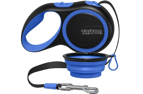 Triton Retractable Dog Leashes - 16 ft Reinforced Nylon Ribbon with Collapsible Water Bowl, One Touch Locking System, Tangle-Free, Anti-Slip Rubberized Handle