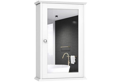 TANGKULA Mirrored Bathroom Cabinets, Wall Mount Storage Cabinets with Single Door, Bathroom Medicine Cabinets, White