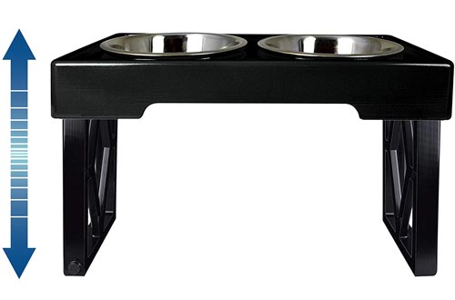 "Pet Zone Designer Diner ADJUSTABLE Elevated Dog Bowls - Adjusts To 3 Heights, 2.75"", 8"", & 12'' (Raised Dog Dish with Double Stainless Steel Bowls)"