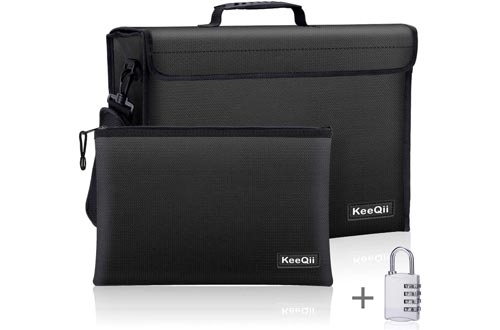 KeeQii Fireproof Bag,17 x 12 x 5 inch Large Fireproof Document Bags, Waterproof and Fireproof Lock Boxes Safe Bag for Document, Laptop,Money and Valuables with Zipper Closure