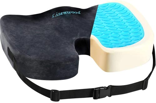 Lisenwood Gel Seat Cushions - 100% Memory Foam Coccyx Seat Cushions for Tailbone Pain Relief, Sciatica Pain Relief - with Gel & Non-Slip Bottom & Fixing Strap Design - Office Chair Car Seat Cushions