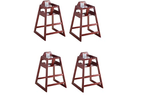 Lancaster Mahogany Finish Stacking Restaurant Wood High Chairs 4 Pack Solid Wood Stacking Stackable
