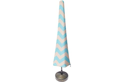 Nest & Nook Patio Umbrella Covers, Umbrella Covers for Outdoor Umbrellas Waterproof 7ft to 11ft - Blue and Creme Chevron Striped, Heavy-Duty and Easy-to-use Outdoor Parasol Covers with Zipper
