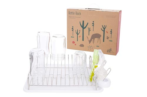 Elk and Friends Stainless Steel Baby Bottle Drying Racks - Countertop Dryer Racks with Drainer - Glasses, Mason Jars & Sippy Cup Organizer (White Tray)