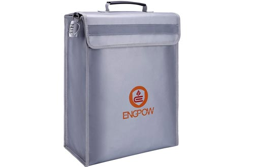 """ENGPOW Large Fireproof Bag,Fireproof Lock Boxes Bag Document Bag Money Bag with Combination Lock Zipper Closure,Fireproof Safe and Water Resistant Storage for Documents,Money,Valuables (16""""x12""""x4"""")"""