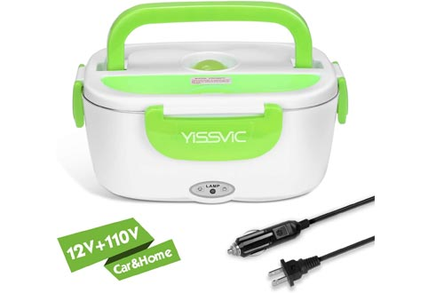 YISSVIC Electric Lunch Boxes for Car and Home 110V/12V Food Heater Food Warmer Portable with Removable Stainless Steel Container