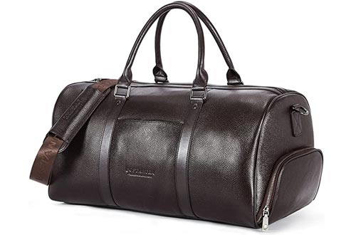 Father's Day Gifts BOSTANTEN Genuine Leather Travel Weekender Overnight Duffel Bags Gym Sports Luggage Tote Duffle Bags For Men