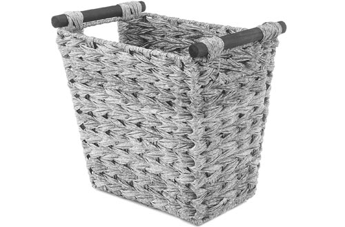Whitmor Split Rattique Waste Baskets with Wood Handles - Gray Wash