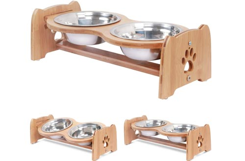 X-ZONE PET Raised Pet Bowls for Cats and Dogs, Adjustable Bamboo Elevated Dog Cat Food and Water Bowls Stands Feeder with 2 Stainless Steel Bowls and Anti Slip Feet