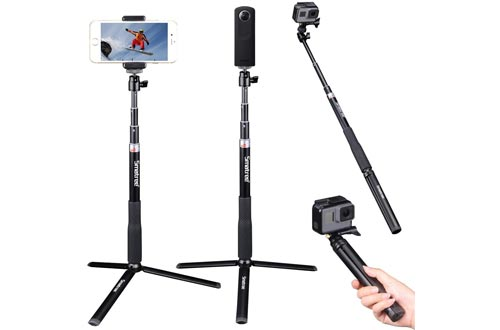Smatree Telescoping Selfie Sticks with Tripod Stand Compatible for GoPro Hero 8/7/6/5/4/3+/3/Session/GOPRO Hero (2018)/Cameras,DJI OSMO Action,Ricoh Theta S/V,Compact Cameras and Cell Phones