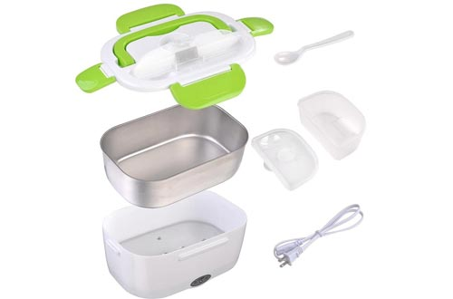 Yescom 1.5L Portable Electric Lunch Boxes Car Food Warmer Heater Spoon and 2 Container Green