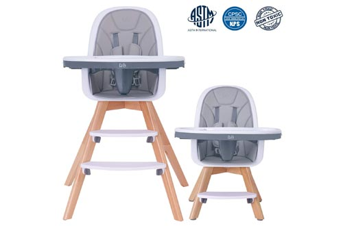 HAN-MM Baby High Chairs with Removable Gray Tray, Wooden High Chairs, Adjustable Legs, Harness, Feeding Baby High Chairs for Baby/Infants/Toddlers
