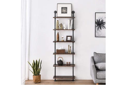 Industrial Pipe Shelves Rustic Wood Ladder Bookshelves Wall Mounted Shelf for Living Room Decor and Storage