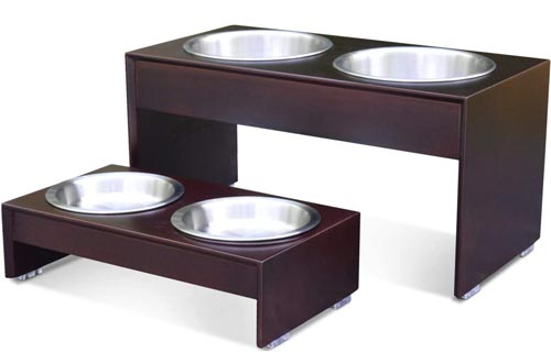 "PetFusion Elevated Dog Bowls, Cat Bowls -- Bamboo feeder w/ Water Resistant seal (Short 4"" Tall 10"" options). US FOOD GRADE Stainless Steel raised bowls"