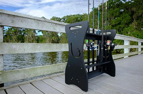 Sea Racks- Black- Hook Design - Store and Organize up to 24 Fishing Rods and Reels, PVC Composite, 20 Year Warranty