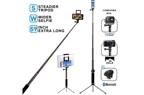 Bluetooth Selfie Sticks with Tripod, Remote 59Inch MFW Extendable Monopod with Tripod Stand for iPhone 11/11PRO/X/XS max/XR/XS/8/7/6/Plus,Tablet,Samsung S7/S8/S9,Android,GoPro Cameras