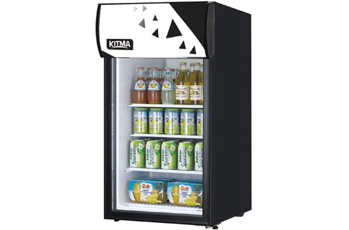 KITMA 120 Can Beverage Coolers and Refrigerator - Small Mini Fridge with Glass Door for Beer, Soda, Wine - 3 Cu. Ft Drinks Fridge for Office, Bar