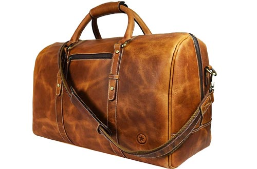 Leather Travel Duffle Bags   Gym Sports Bags Airplane Luggage Carry-On Bags By Aaron Leather (Caramel)
