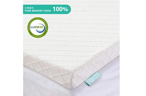 RECCI 3-Inch Memory Foam Mattress Toppers Twin, Pressure-Relieving Bed Toppers, Memory Foam Mattress Pad with Bamboo Viscose Cover - Removable&Washable,CertiPUR-US(Twin Size)