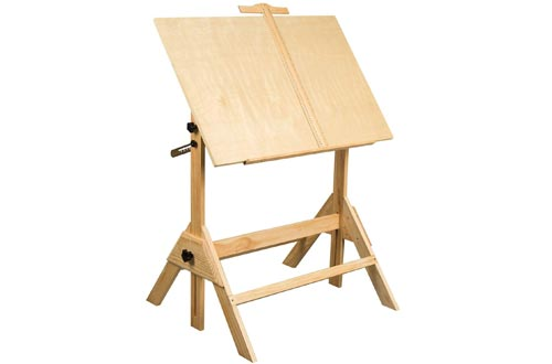 MEEDEN Solid Wood Drafting Tables, Drawing Desk, Craft Tables with Adjustable Height and Tiltable Tabletop for Artwork, Graphic Design, Reading, Writing