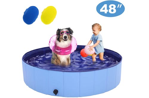 RQN Foldable Dog Pools for Outdoor Backyard,Portable Pet Pools for Kid Baby Pet Dog Cat with Two Brushes