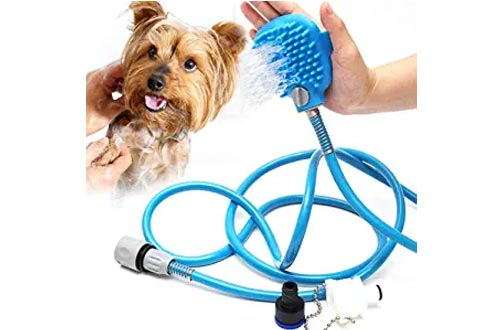 Emoly Pet Showers Kit, 2 in 1 Pet Bathing Tool Showers Sprayer, Adjustable Bath Glove, Cleaning Massage Showers Bath Tub & Outdoor Garden Hose Compatible for All Types of Pets - Blue