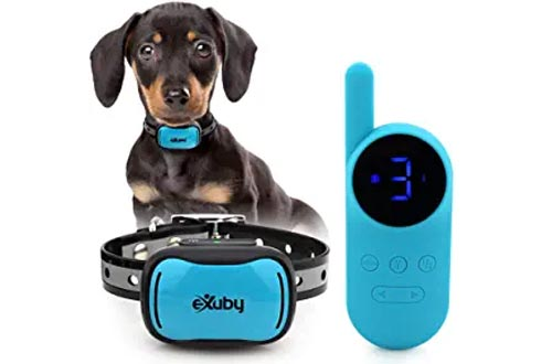 eXuby - Tiny Shock Collars for Small Dogs 5-15lbs - Smallest Collars on The Market - Sound, Vibration, Shock - 9 Intensity Levels - Pocket-Size Remote - Long Battery Life - Waterproof