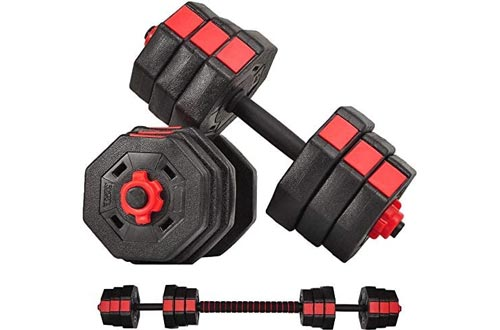 Adjustable Weight Dumbbells Sets 44Lbs, Barbell Sets for Men and Women Home Fitness Weight Sets Gym Workout Exercise Training with Connecting Rod (Black)