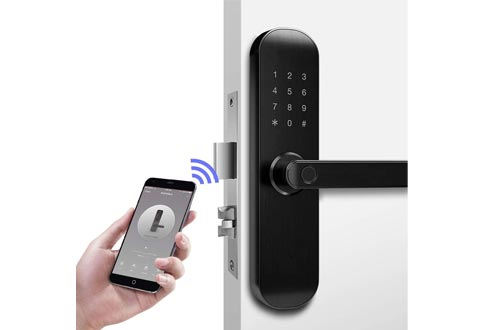 New 202Plus WiFi and Bluetooth Smart Locks, Fingerprint Keyless Entry Door Mortise Locks, App Remotely and Office/Apartment Business Manage for Door Locks, Handle Free Reversible