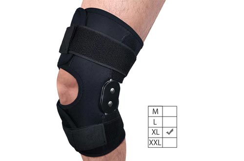 FunCee Hinged Knee Braces, 4 available sizes Adjustable Compression Wrap for Men & Women, Knee Support for ACL, Tendon, Ligament & Meniscus Tear Injuries, Sports in Gym Basketball Running Football (XL)