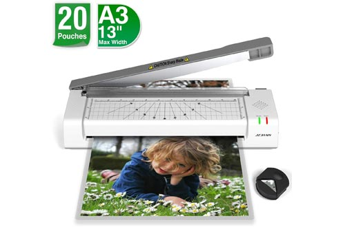 Laminating Machines, JZBRAIN Laminator Machines for A3 A4, Included 20 Laminating Sheets, Paper Cutter and Corner Rounder for Home Office School Teachers Use, Laminate up to 13 inches Wide, Gray