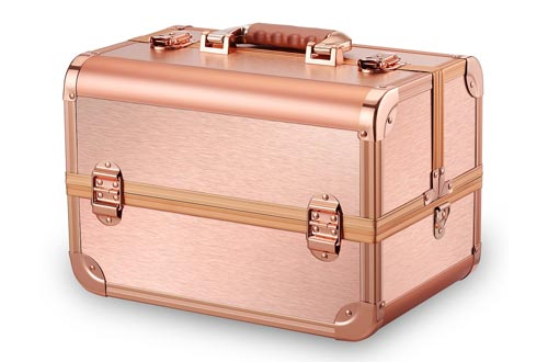 Ovonni Professional Portable Makeup Train Cases, Artist Lockable Aluminum Cosmetic Organizer Storage Box with 15 Compartments 4 Trays, Rose Gold