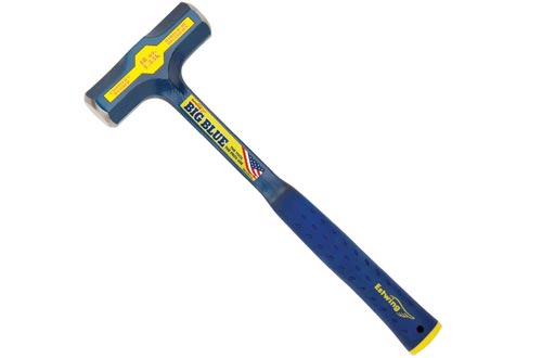 Estwing BIG BLUE Engineer's Hammers - 48 oz Sledge with Forged Steel Construction & Shock Reduction Grip - E6-48E