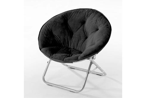Urban Shop Faux Fur Saucer Chairs with Metal Frame, One Size, Black