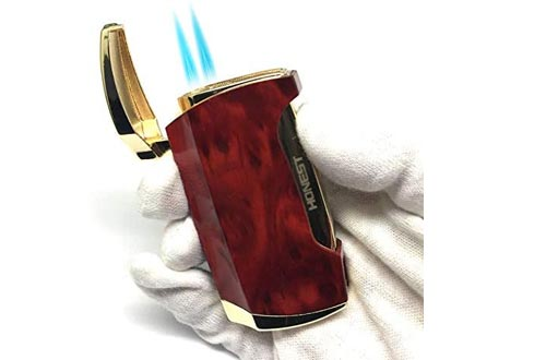 Torch Lighters Cigars Double Jet Flame Lighters with Cigar Punch (Brown Grain)