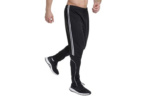 STARBILD Men's Athletic Track Pants Striped Soccer Training Pants Running Jogger Pants with Zipper Pockets
