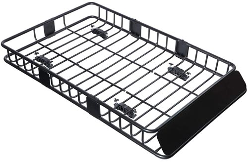 """Tiptiper Roof Basket, 64""""/43""""Universal Roof Racks Cargo Basket with 250LBS Capacity, Top Luggage Holder Basket Fits for Truck, SUV and Off-Roader"""