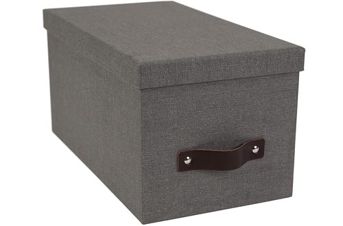 Bigso Silvia Canvas Fiberboard Organizational Storage Boxes, 5.9 x 6.5 x 11.6 in, Grey